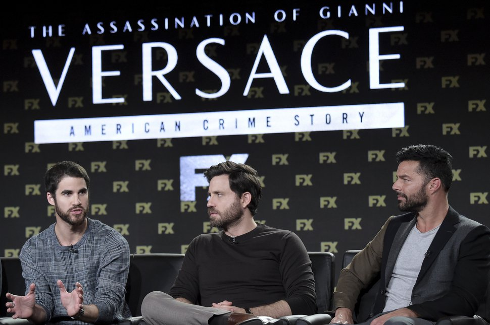 Darren Criss, from left, Edgar Ramirez and Ricky Martin participate in