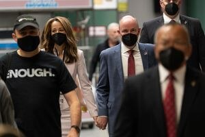 (Francisco Kjolseth | The Salt Lake Tribune) Gov. Spencer Cox is joined by his wife, Abby, as they walk the halls of the Utah Republican Party's 2021 Organizing Convention at the Maverik Center in West Valley City on Saturday, May 1, 2021.