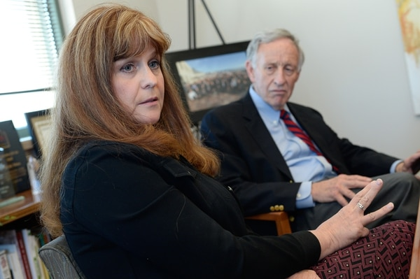 (Francisco Kjolseth | The Salt Lake Tribune) Michelle McOmber, CEO of the Utah Medical Association and Jim Jardine with Drug Safe Utah, voice their opposition to Proposition 2, Utah's medical marijuana initiative as they speak to the Salt Lake Tribune Editorial Board on Tuesday, Aug. 28, 2018.