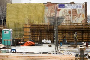 (Rick Egan  |  The Salt Lake Tribune)   New construction on 300 West, pictured here in March, is covering up a groundbreaking mural on the former Artspace building on Pierpont Avenue.