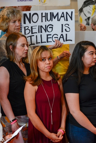 Leah Hogsten | The Salt Lake Tribune Vicky Chavez, a Honduran woman who has been living in a Utah church with her two daughters after her appeal to have her asylum case reconsidered was denied said she will remain living at the First Unitarian Church of Salt Lake City, July 9, 2018. Chavez and her daughters, ages 6 and 4 months, have been staying in a classroom that was converted to a living space since Jan. 30.