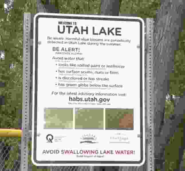 Permanent warnings about algal bloom are being installed around Utah Lake