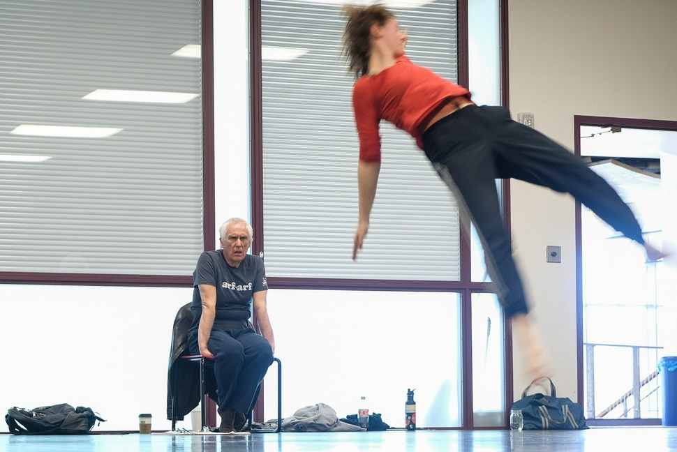 (Francisco Kjolseth | The Salt Lake Tribune) Choreographer Stephen Koester, a Professor as well as Chair in the Department of Modern Dance at the University of Utah works with dancer Breeanne Saxton at the Rose Wagner Performing Arts Center Black Box Theater recently for an upcoming performance. As he gets ready to retire, this will be his final performance with the Ririe-Woodbury Dance Company.