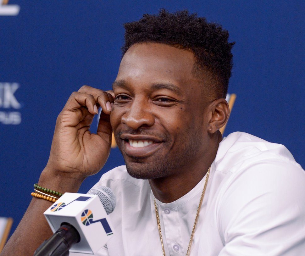 (Leah Hogsten | The Salt Lake Tribune) The Utah JazzÕs new forward Jeff Green, who was signed to the Utah Jazz on July 20, reacts to a question from members of the media Friday, July 26, 2019 at the Jazz basketball facility.