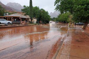 (Utah Department of Transportation) Flooding inundates SR-9 near Zion National Park on Tuesday.