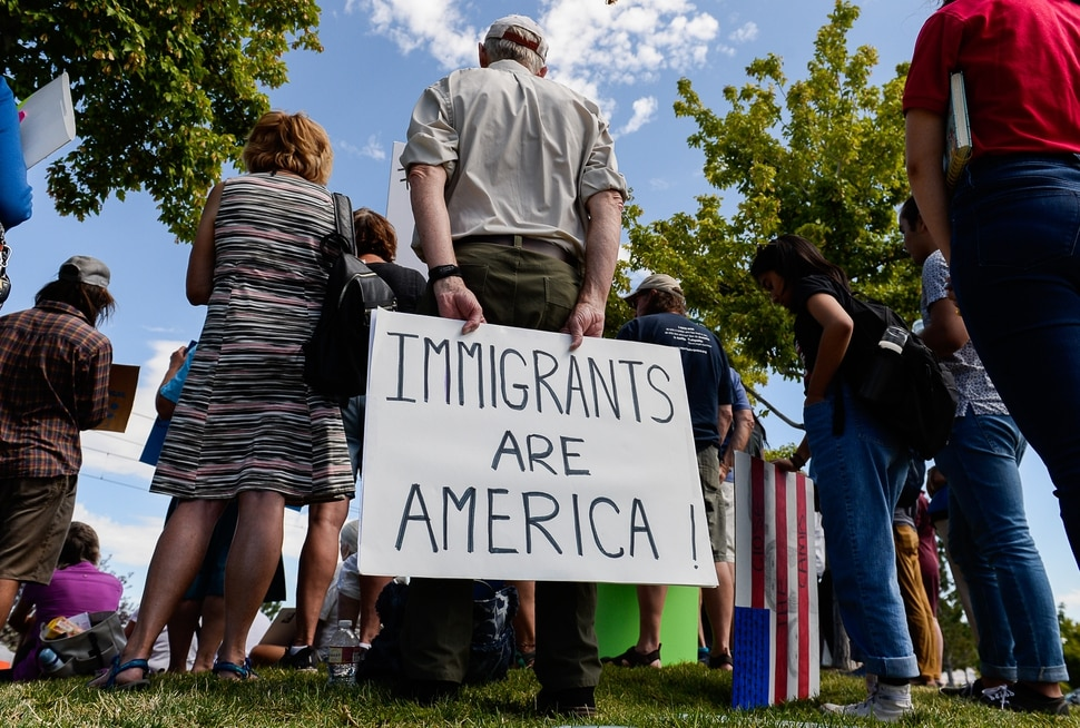(Francisco Kjolseth | The Salt Lake Tribune) Stan Holms joins Utah Jewish Community organizations, their members and friends gather outside of the U.S. Immigration and Customs Enforcement (ICE) field office at 2975 S. Decker Lake Drive in West Valley City, on Saturday, Aug. 10, 2019, for a Close The Camps vigil and to condemn government policies that endanger, imprison and deport immigrants, refugees and asylum seekers.