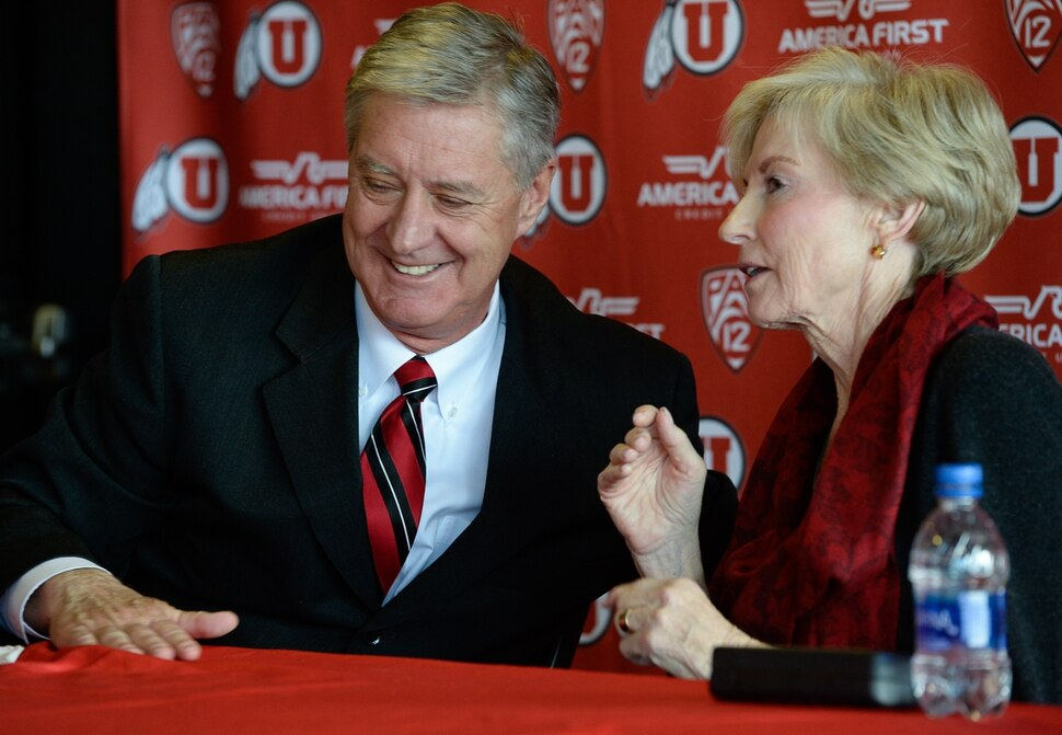 (Francisco Kjolseth | The Salt Lake Tribune) University of Utah Athletics Director Chris Hill announces his plan to retire this spring after 31years. Joined by his wife Kathy and their kids and grandkids at the Jon M. Huntsman Center on campus on Monday, March 26, 2018, Hill is the longest actively tenured athletics director at the same school in the NCAA FBS.