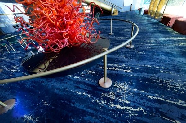 (Scott Sommerdorf | The Salt Lake Tribune) The new carpeting in the newly renovated Abravanel Hall lobby, Thursday, October 19, 2017.