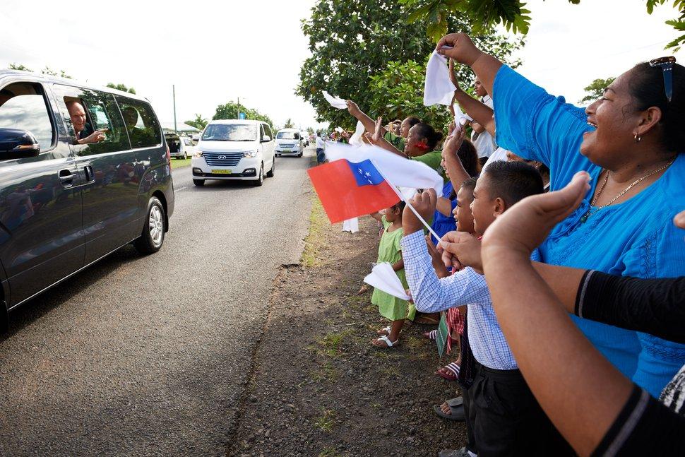 (Photo courtesy of The Church of Jesus Christ of Latter-day Saints) Samoans welcome President Russell M. Nelson of The Church of Jesus Christ of Latter-day Saints. About 42 percent of Samoans belong to the Utah-based faith.