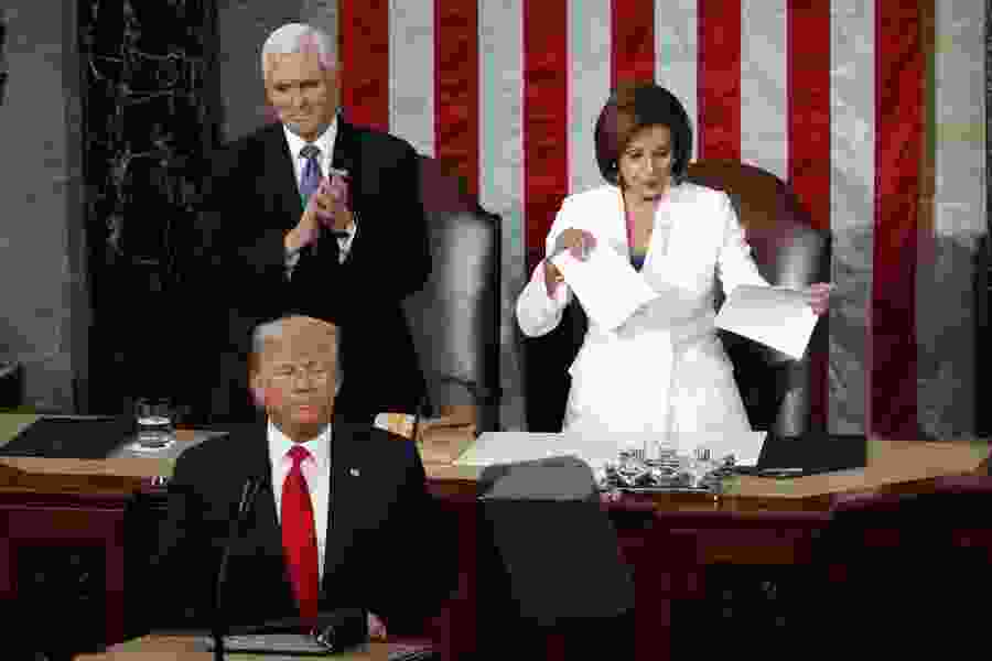 Trump declares the state of the union to be strong as his speech highlights divisions