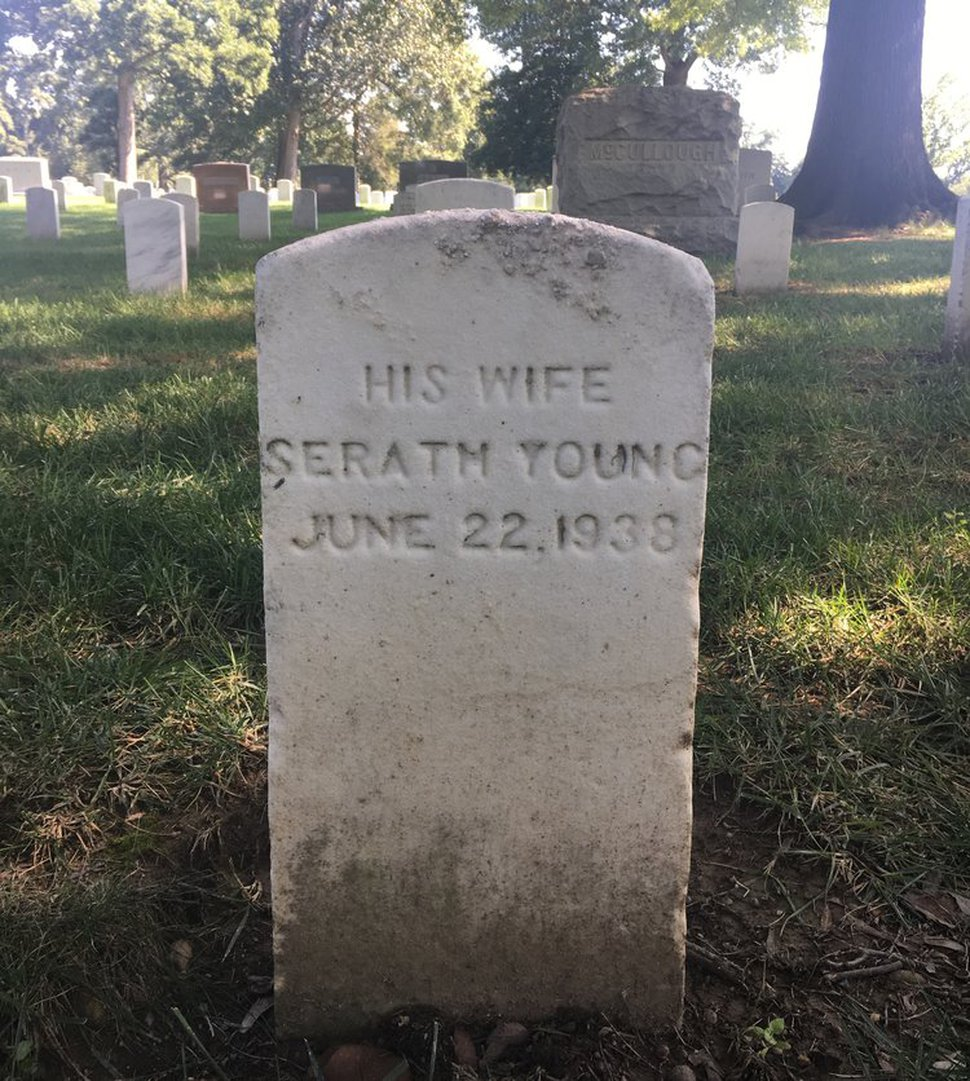 (Photo courtesy of Katherine Kitterman) The grave marker for Seraph Young, who is buried with her husband at Arlington National Cemetery, is misspelled.
