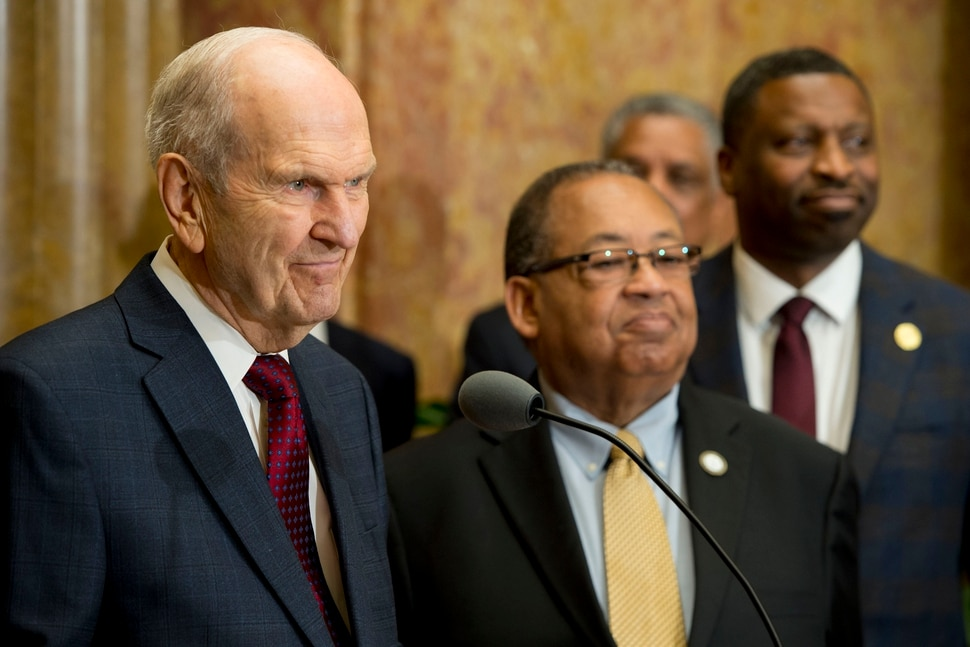(Jeremy Harmon | The Salt Lake Tribune) President Russell M. Nelson of The Church of Jesus Christ of Latter-day Saints appears with NAACP leaders Leon Russell, center, and Derrick Johnson on May 17, 2018, where the two groups emphasized a need for greater civility and called for an end to prejudice.