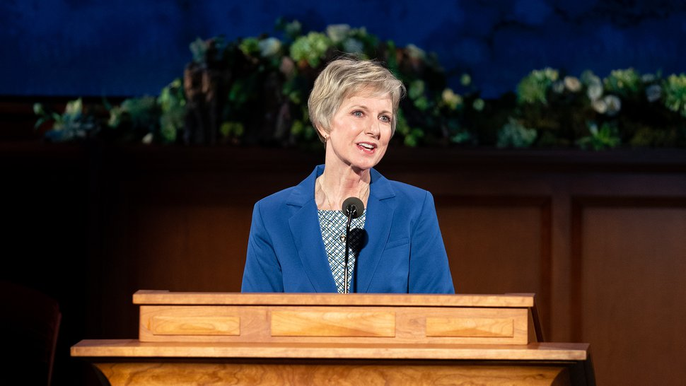 (Photo courtesy of The Church of Jesus Christ of Latter-day Saints) President Jean B. Bingham, head of the women's Relief Society, speaks April 4, 2020.