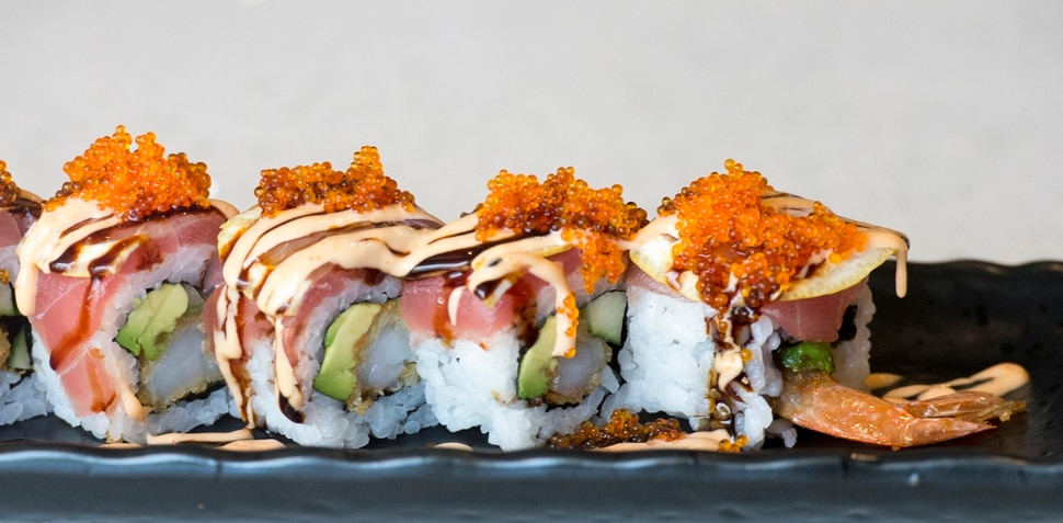 (Rick Egan | The Salt Lake Tribune) The Playboy Roll, at Hamachi Pescatarian Grill and Sushi, 488 E 100 South, Salt Lake City, Monday, June 4, 2018.