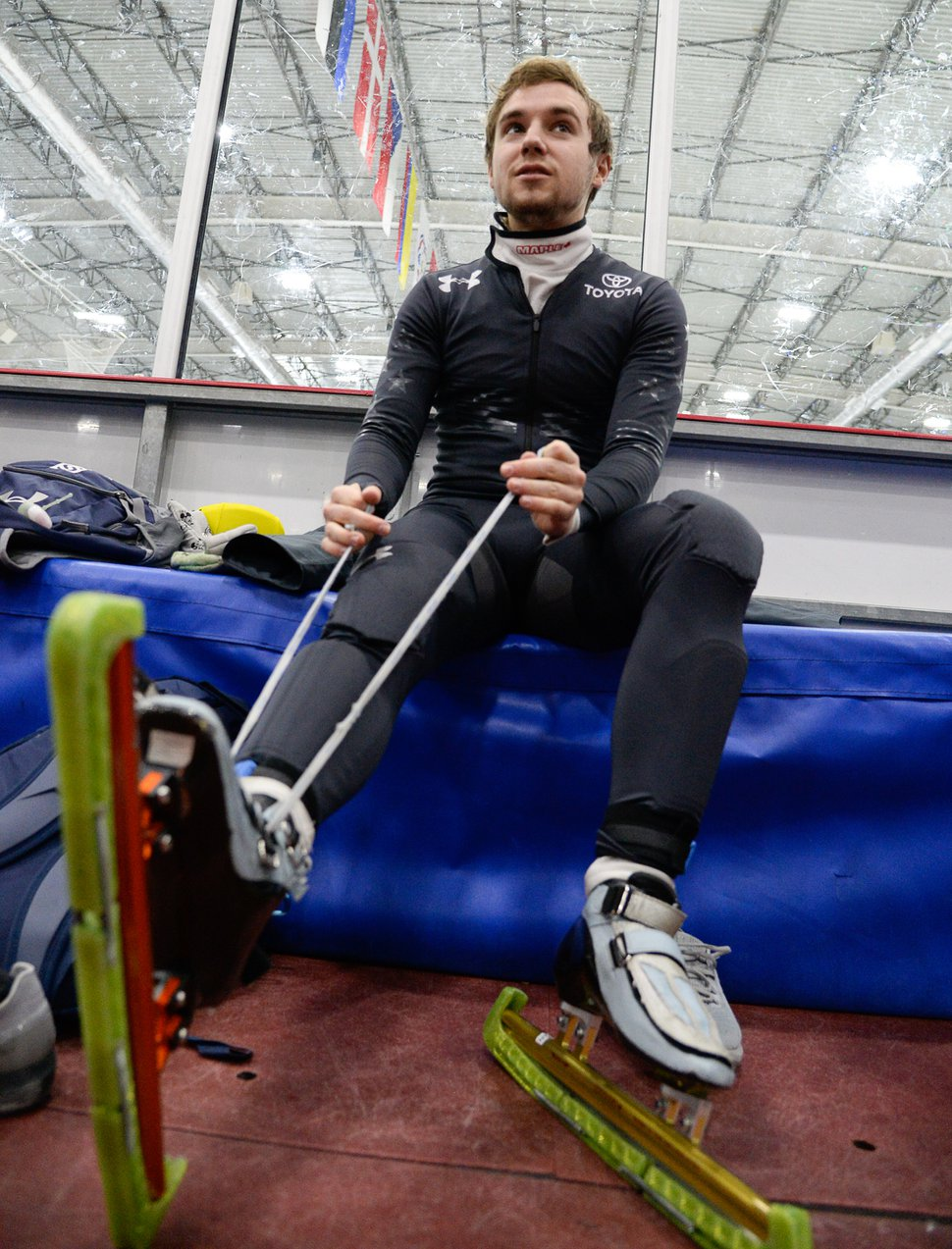 (Francisco Kjolseth | The Salt Lake Tribune) Ryan Pivirotto prepares for a semifinals mixed relay race as part of the U.S. Short Track Speedskating championships on Friday, Jan. 3, 2020, at the Utah Olympic Oval in Kearns.