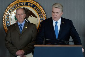 (Francisco Kjolseth  |  The Salt Lake Tribune)   U.S. Attorney for Utah John Huber, right, is joined by Utah Department of Public Safety Commissioner Keith Squires and other officers as they announce the indictment of a man charged with distribution of spice and possession of a fire arm during a press event at the U.S. Attorney's office on Monday, March 12, 2018.