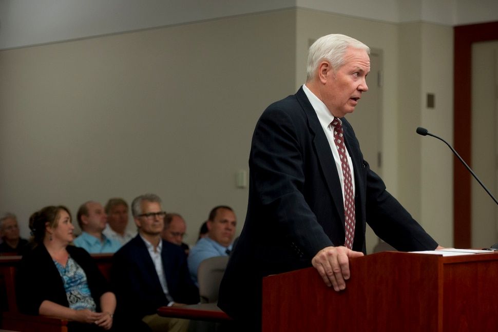 (Jeremy Harmon | The Salt Lake Tribune) Attorney Roger Hoole, who represents former member of the FLDS church, addresses the court during a UEP hearing in Salt Lake City on Tuesday, June 18, 2019.