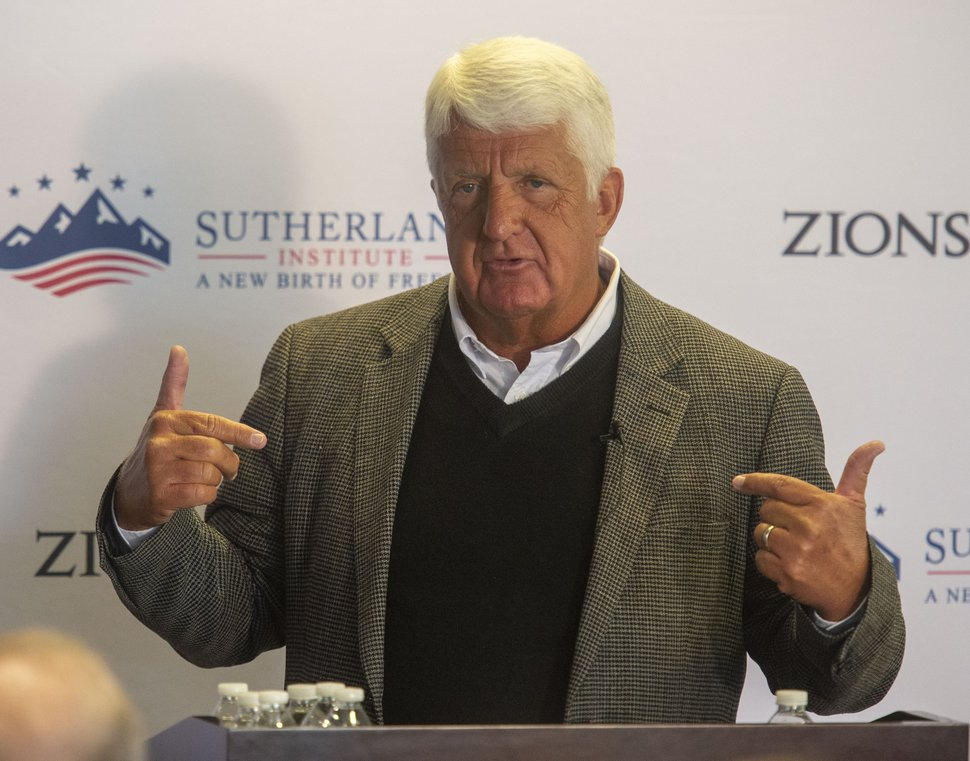 (Rick Egan | The Salt Lake Tribune) Rep. Rob Bishop talks to the Sutherland Institute about education, Wednesday, Aug. 28, 2019.