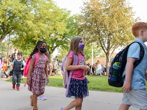 (Chris Samuels | The Salt Lake Tribune) Students begin the first day of school at Whittier Elementary in West Valley City, Monday, Aug. 16, 2021.