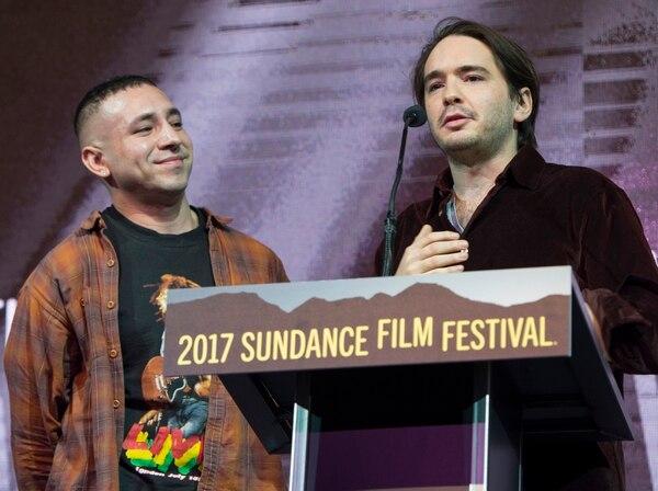Rick Egan   The Salt Lake Tribune Directors Antonio Santini and Dan Sickles accept the award for their film