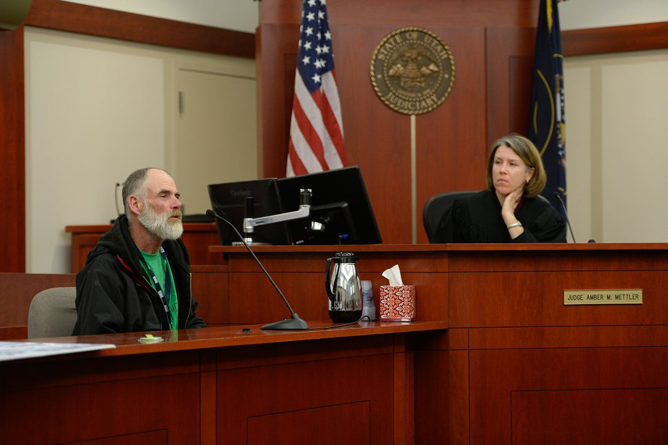 (Francisco Kjolseth   The Salt Lake Tribune) A witness for the prosecution, Lee McCashland, testifies in the courtroom of Judge Amber M. Mettler at the Matheson courthouse in Salt Lake City about being struck by a vehicle that had driven onto the sidewalk. A preliminary hearing was held on Monday, Jan. 8, 2018, for Shutney Kyzer, who allegedly drove the car, killing one homeless person, 27-year-old Kendra Griffis, and injuring five others including McCashland.