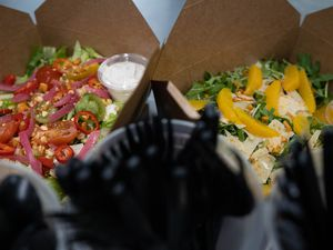 (Francisco Kjolseth  | The Salt Lake Tribune) Mexican street corn salad and citrus arugula salad from SLC Salads, a new takeout-only business that operates out of the ComCom Kitchen, 67 W. 1700 South, Salt Lake City.