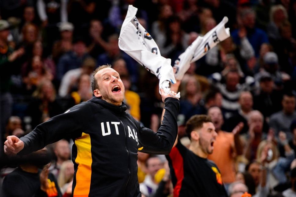 (Trent Nelson | The Salt Lake Tribune) Utah Jazz forward Joe Ingles (2) celebrates after a dunk by Rayjon Tucker as the Utah Jazz host the Charlotte Hornets, NBA basketball in Salt Lake City on Friday, Jan. 10, 2020.