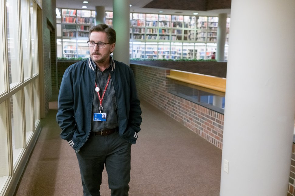 (Photo courtesy of Greenwich Entertainment) Emilio Estevez plays Stuart Goodson, a librarian who gets in the middle of a standoff between homeless patrons and police, in the drama