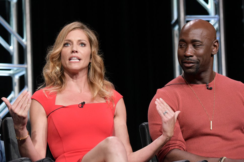 Tricia Helfer, left, and DB Woodside participate in the