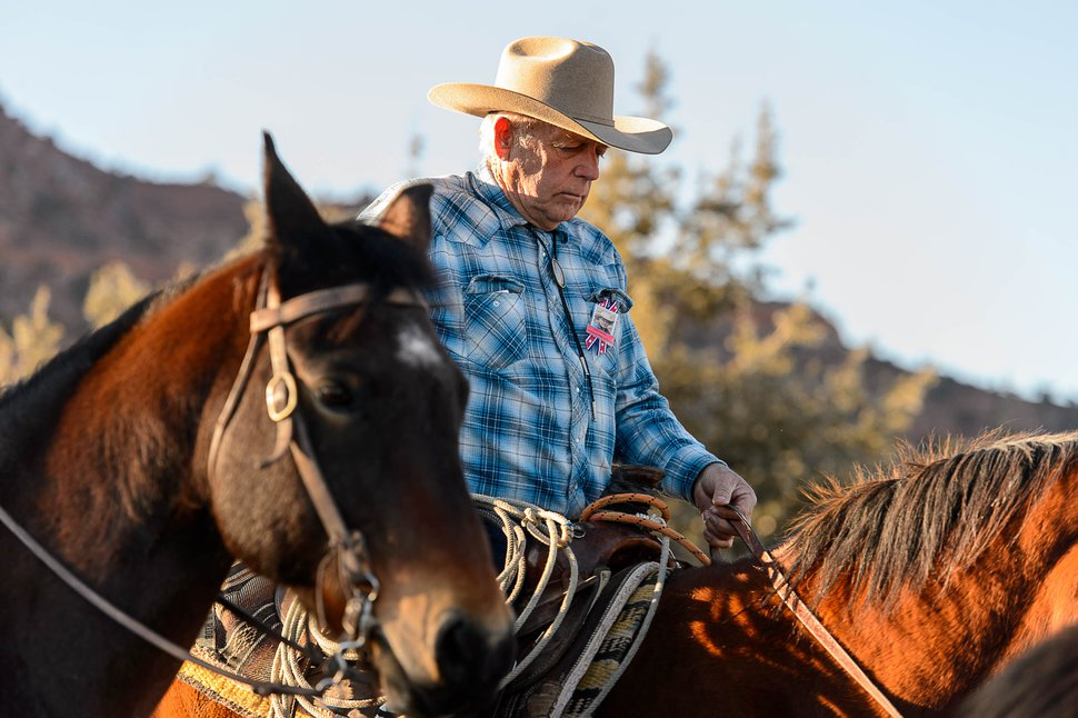 Trent Nelson   The Salt Lake Tribune Cliven Bundy rides in a procession at the funeral for Robert