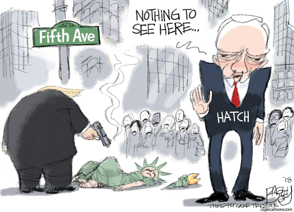 (Pat Bagley | The Salt Lake Tribune) This Pat Bagley cartoon titled Orrin 'Soft-on-Crime' Hatch appears in The Salt Lake Tribune on Wednesday, Dec. 12, 2018.