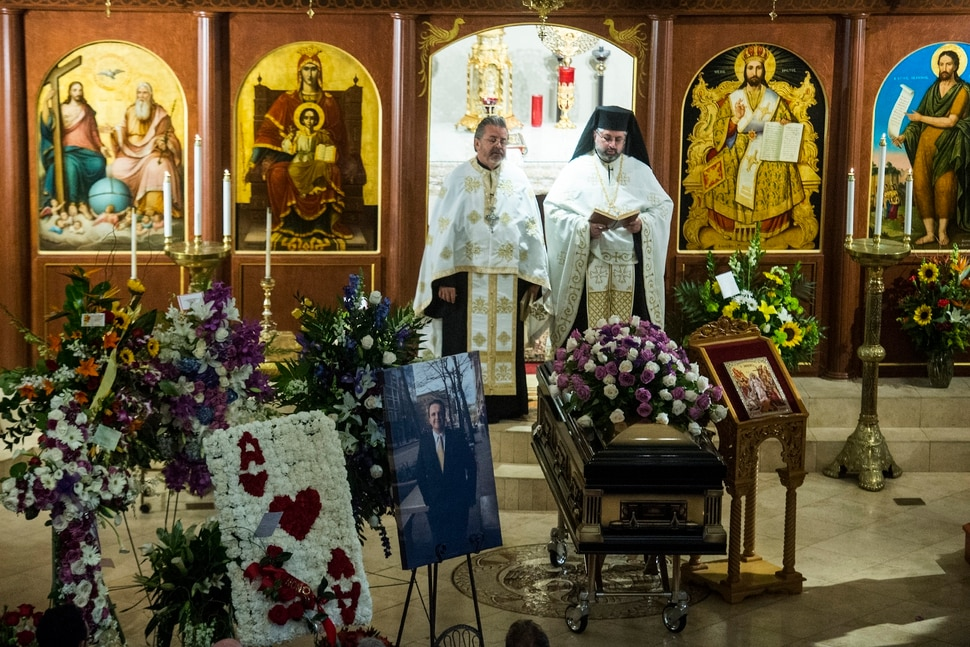 (Chris Detrick | The Salt Lake Tribune) V. Rev. Archimandrite George Nikas and The Rev. Mario Giannopoulos lead funeral services for Vasilios Priskos at the Holy Trinity Cathedral in Salt Lake City Saturday, October 14, 2017. Priskos, an immigrant who helped shape the development of downtown Salt Lake City through his extensive real estate holdings, died Monday after a lengthy battle with cancer. He was 53.