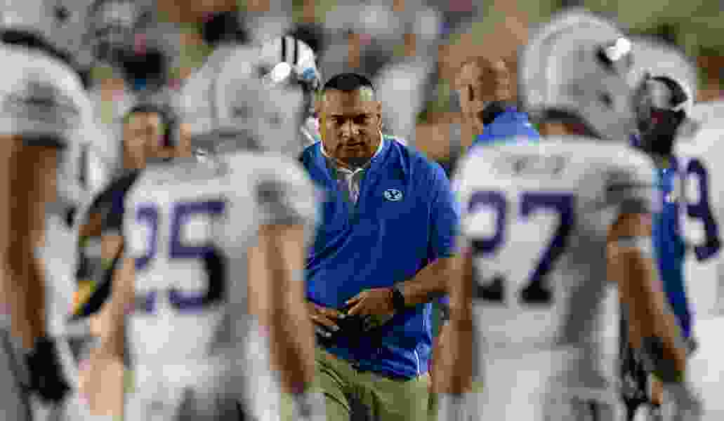 Kalani Sitake's BYU football program made significant progress in 2018, but school officials aren't in a hurry to extend the coach's contract