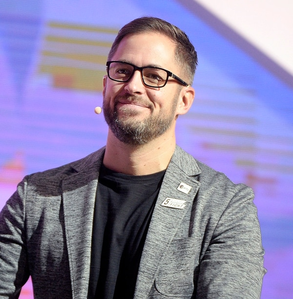 (Al Hartmann | The Salt Lake Tribune) Aaron Skonnard, Pluralsight, CEO speaks in the opening session to over 14,000 at the 2018 Silicon Slopes Tech Summit at the Salt Lake Convention Center Thursday Jan. 18.
