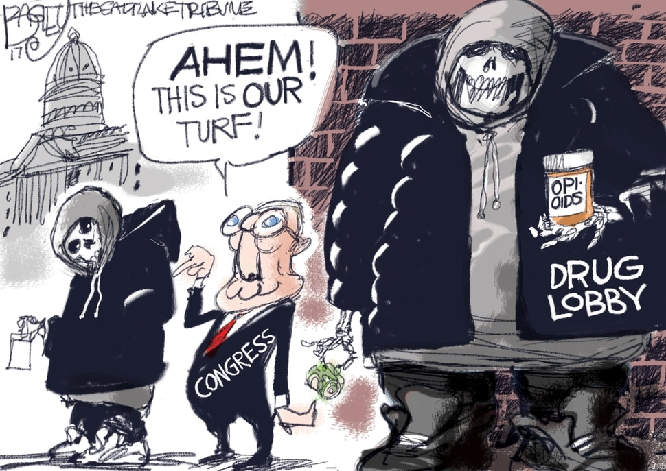 (Pat Bagley | The Salt Lake Tribune) This Pat Bagley cartoon, titled Drug Dealing Lowlifes, appears in The Salt Lake Tribune on Tuesday, Oct. 17, 2017.