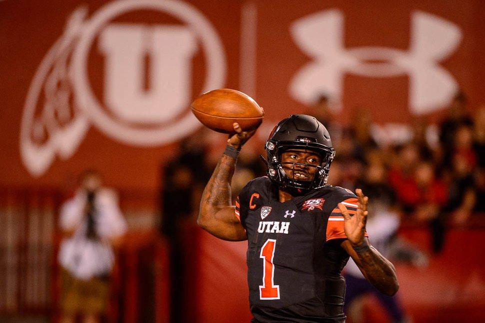 (Trent Nelson | The Salt Lake Tribune) Utah Utes quarterback Tyler Huntley (1) as the University of Utah hosts Washington at Rice-Eccles Stadium in Salt Lake City, Saturday Sept. 15, 2018.