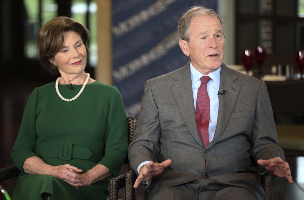 Former President George W. Bush and Laura Bush are interviewed by host Maria Bartiromo, not pictured, on the