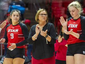 (Rick Egan  |  The Salt Lake Tribune)        Utah Head Coach, Beth Launiere coaches the Utes, in volleyball action between Utah and BYU, at the Jon M. Huntsman Center, Thursday, Sept. 19, 2019.
