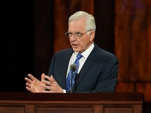 (Photo courtesy of The Church of Jesus Christ of Latter-day Saints) Apostle D. Todd Christofferson speaks at General Conference on Saturday, Oct. 3, 2020.