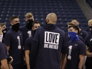 (Photo courtesy of BYU athletics) BYU basketball coach Mark Pope talks to his players at a recent practice for the upcoming season.