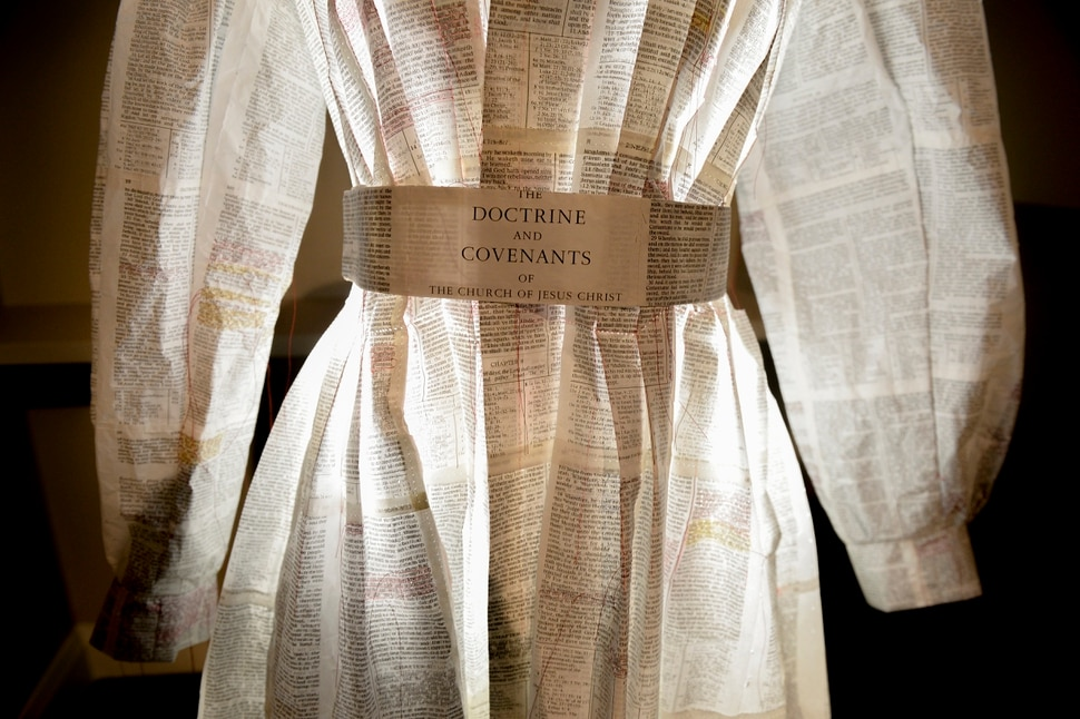 Leah Hogsten   The Salt Lake Tribune The project bean with my childhood set of scriptures, which after years of use, were falling apart, said Danielle Hatch of her Doctrine and Covenants dress titled And I Am Here sculpture, paper and wooden armature. The 11th International Art Competition: Meditations on Belief at the Church History Museum runs until October 7, 2019. The 151 selected works exhibition was drawn from over 900 submissions from countries around the world, in a variety of media, from woodcut to photography and from sculpture to textile.