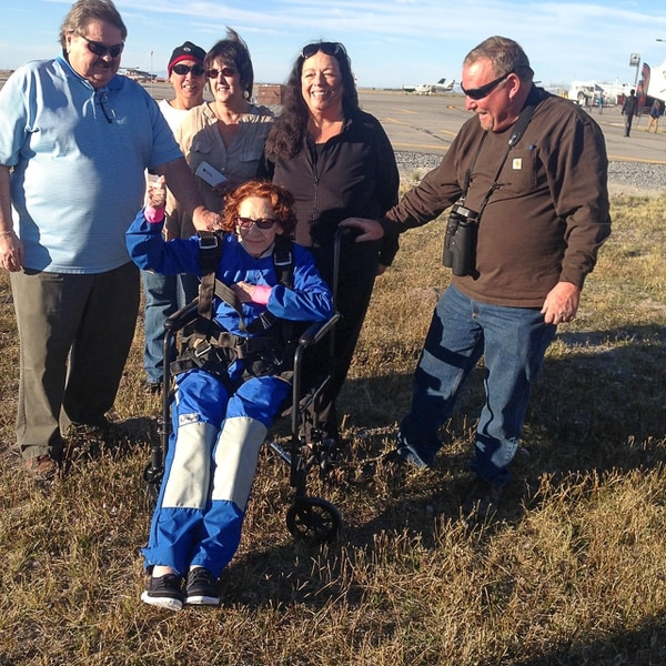 (Paul Rolly | The Salt Lake Tribune) Trudy Joseph celebrates her upcoming 90th birthday by jumping out of a plane with the help of Skydive Utah near Tooele, UT, surrounded by friends and family.
