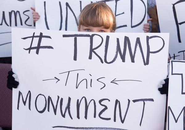 Rick Egan | The Salt Lake Tribune Angry locals protest the new Bears Ear Monument in Monticello, Thursday, December 29, 2016.