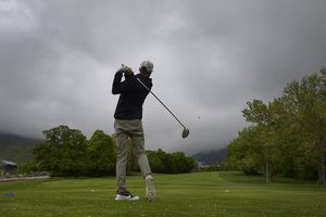 (Scott Sommerdorf | The Salt Lake Tribune)Andrew Gerbus tees off on #11 at Bonneville Golf Course, Friday, May 11, 2018.