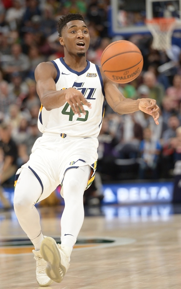 (Leah Hogsten | The Salt Lake Tribune) Utah Jazz guard Donovan Mitchell (45). The Utah Jazz defeated the Phoenix Suns 112-101 during preseason NBA basketball at Vivint Smart Home Arena in Salt Lake City, October 6, 2017.