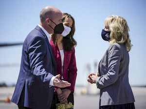 (Trent Nelson | The Salt Lake Tribune)  First lady Jill Biden, right, greets Utah Governor Spencer Cox and Abby Cox after arriving in Salt Lake City on Air Force Two, Wednesday, May 5, 2021.