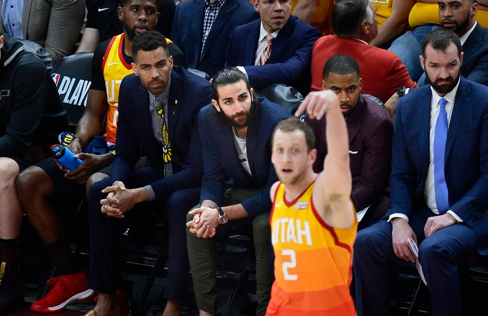 (Scott Sommerdorf | The Salt Lake Tribune) Utah Jazz guard Ricky Rubio (3) sits on the bench during the first period as The Houston Rockets led the Utah Jazz 70-40 at the half of game 3, Friday, May 4, 2018.