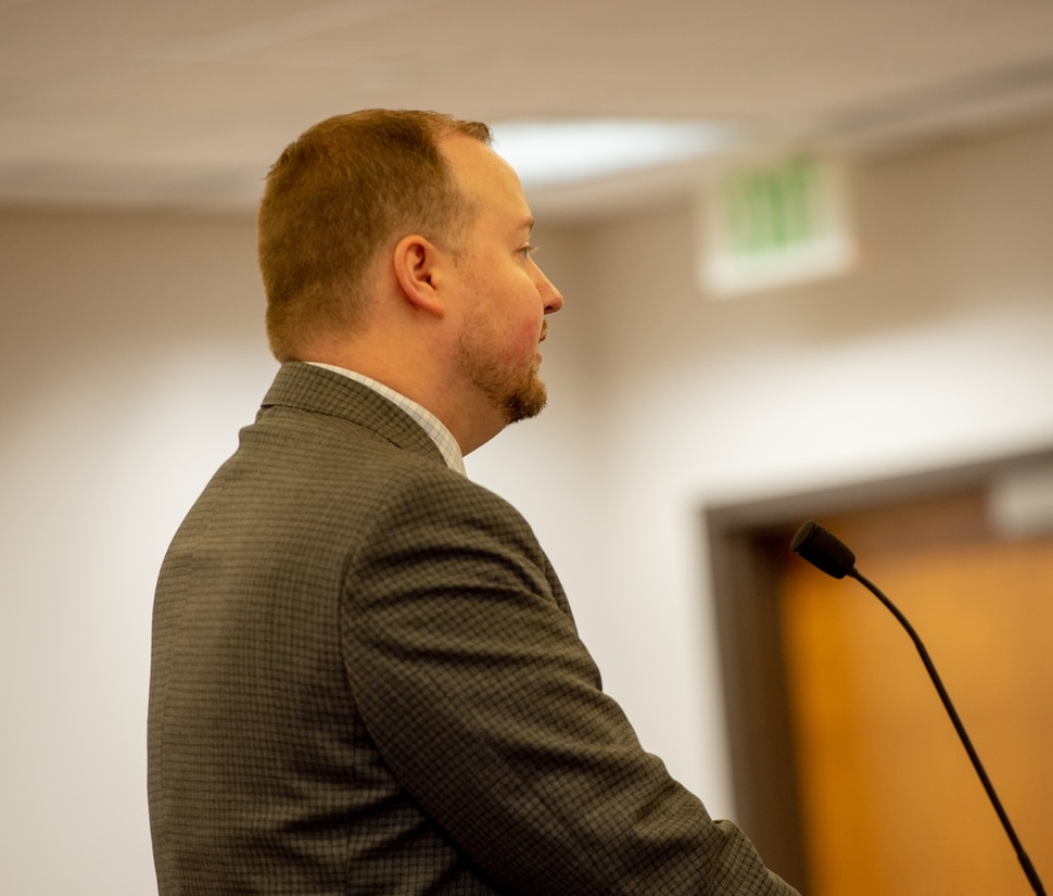 (Rachel Molenda | The Salt Lake Tribune) Orem City prosecutor DJ Summers makes his arguments in a hearing on Monday, Dec. 31, 2018 to allow Mackenley Montfleury to vacate his plea in an assault case so he will not be deported to Haiti. Judge Reed S. Parkin ruled he had no authority to address the case since Montfluery appealed his conviction.