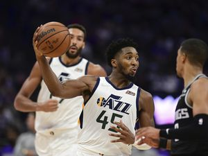 (José Luis Villegas   AP) Utah Jazz Donovan Mitchell drives to the basket during the second half of the team's NBA basketball game against the Sacramento Kings in Sacramento, Calif., Friday, Oct. 22, 2021. The Jazz 110-101.