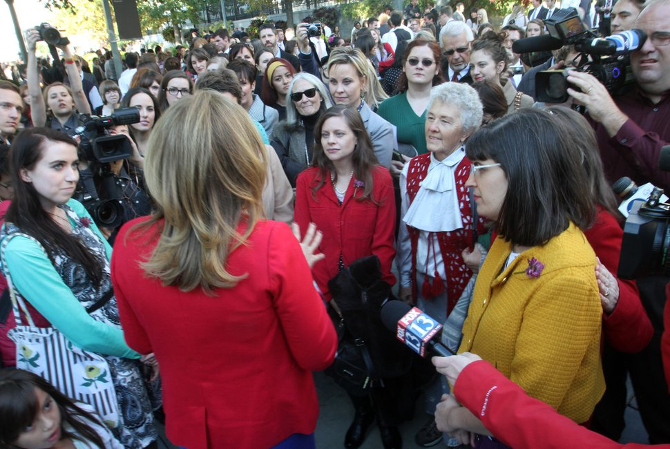 Rick Egan | The Salt Lake Tribune Ruth Todd, LDS Church spokeswoman, talks to Ordain Women supporters on Temple Square as they attempted to stand in the standby line to try to gain admittance to the priesthood session of the 183rd Semiannual General Conference, Saturday, Oct. 5, 2013.